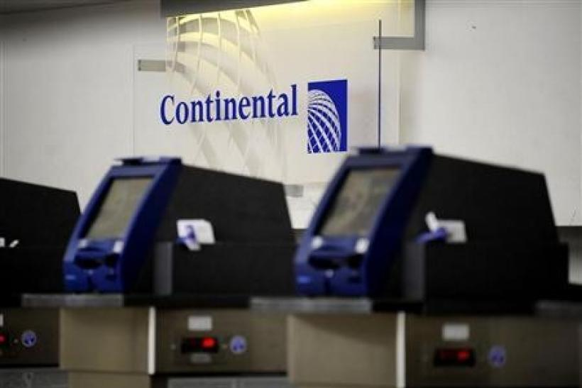 Continental self check-in kiosks are shown at Terminal C at Newark Liberty International Airport in Newark