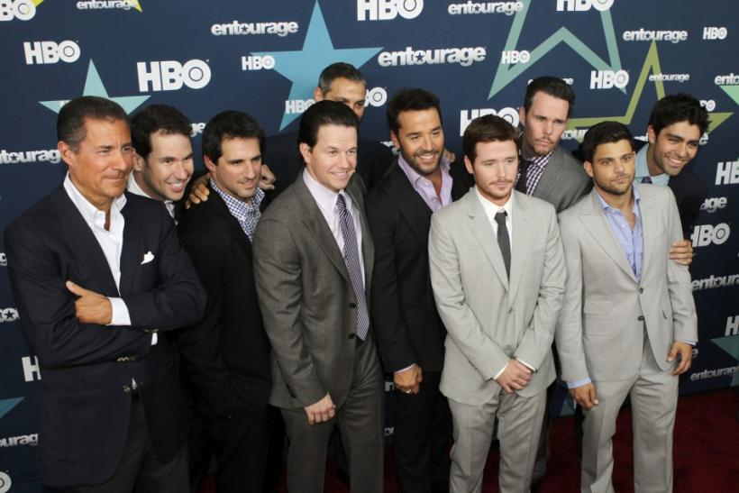 The cast of HBO's 'Entourage' pose during arrivals at the premiere of the final season in New York