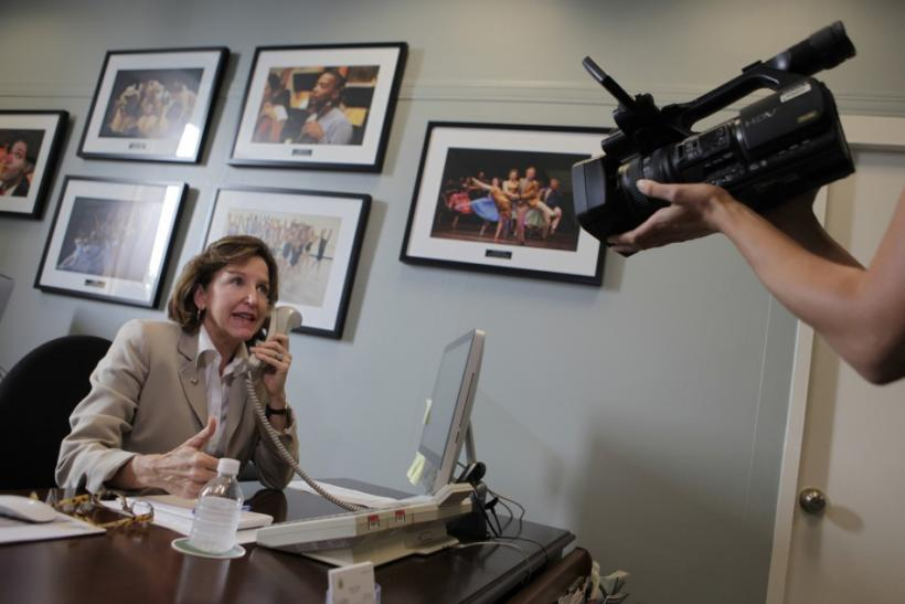 Sen. Kay Hagan answers phone calls from constituents in her office on Capitol Hill in Washington