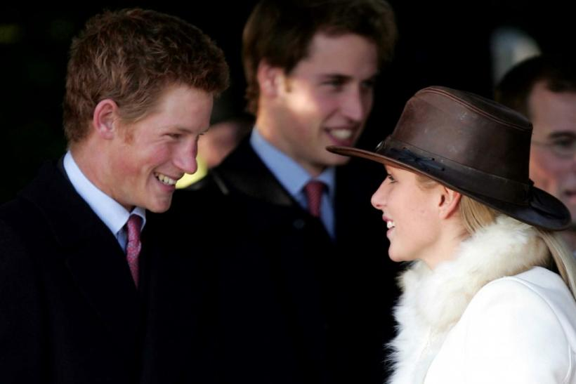 Britain's Princes Harry (L) and William (C) and Zara Phillips (R) arrive at St Mary Magdalene's church for the Royal Family's Christmas Day service on the Sandringham estate in Norfolk, December 25, 2004.