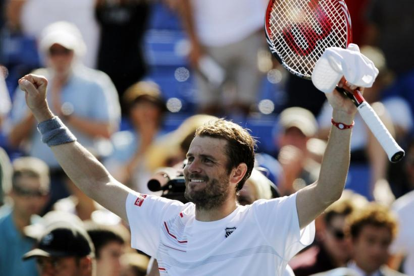 Mardy Fish of the U.S. celebrates after winning the semi-finals of the ATP Los Angeles International tennis open tournament against Ryan Harrison of the U.S. in Los Angeles