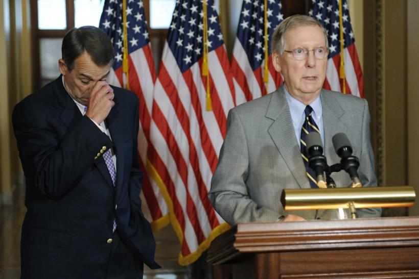 Boehner and McConnell address a news conference about the U.S. debt ceiling crisis, at the U.S. Capitol in Washington