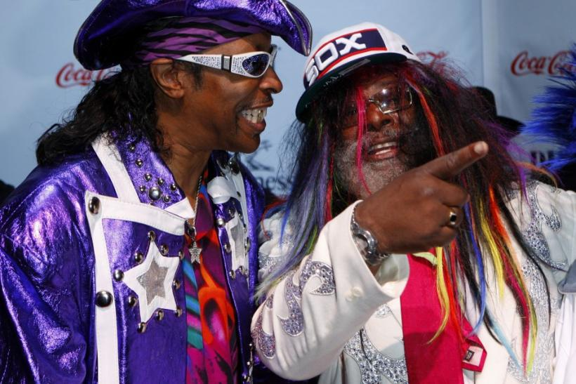 George Clinton, winner of the 2009 BMI Urban Icon award, stands with Bootsy Collins, at the BMI Urban Music Awards, in New York
