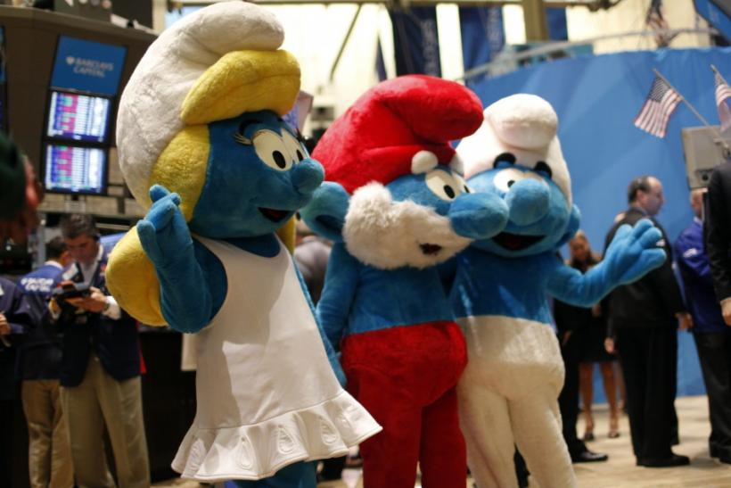"Costumed ""Smurfs"" characters wave on the main trading floor of the New York Stock Exchange"