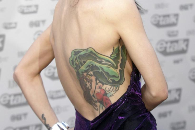 Singer Lights shows her tattoo during the Juno Awards in Vancouver