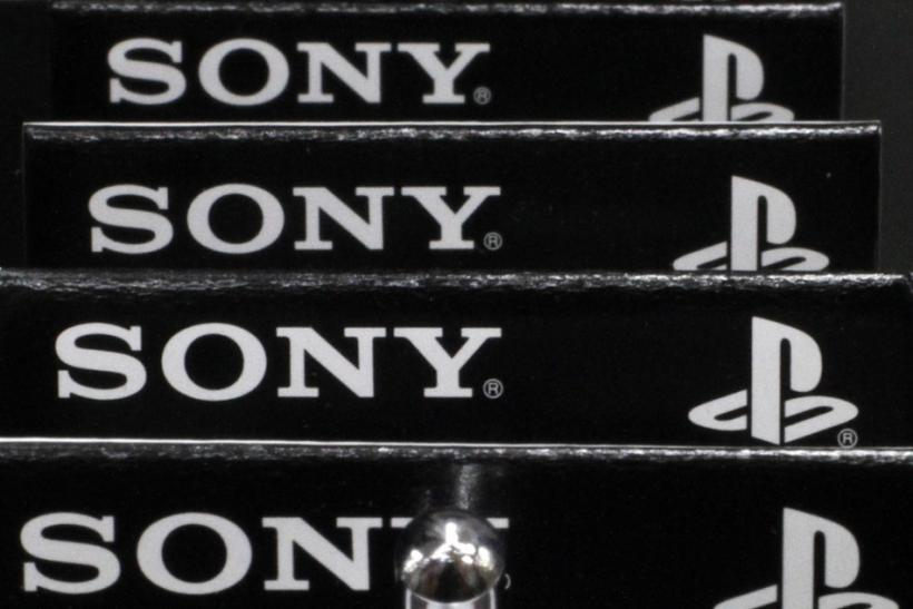 Logos of Sony Corp and PlayStation are seen at an electronics store in Tokyo