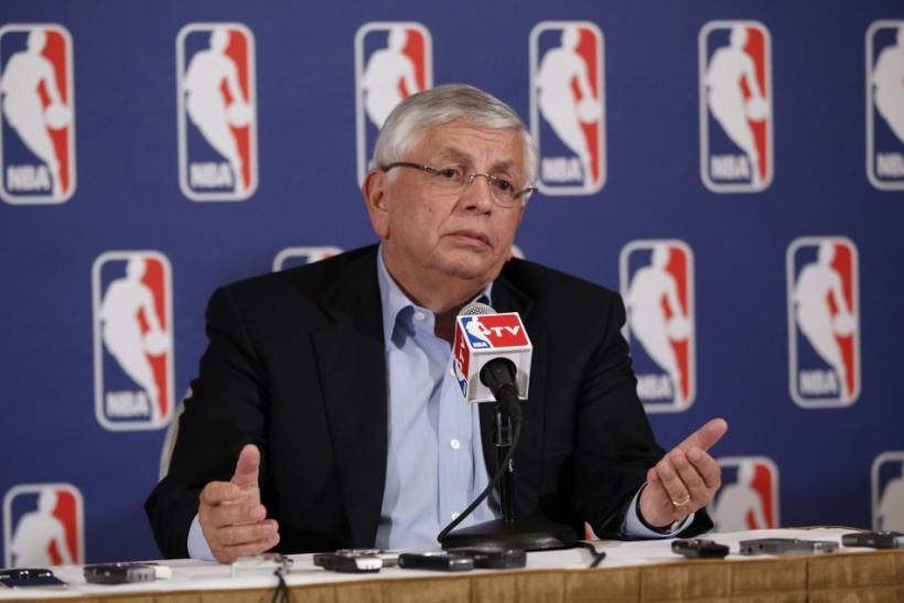 National Basketball Association commissioner David Stern answers questions from the media regarding contract negotiations between the NBA and the players association in New York