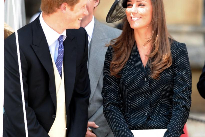 Britain's Prince Harry and Kate Middleton attend the Order of the Garter Service at St George's Chapel in Windsor southern England
