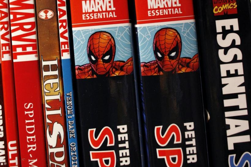Marvel graphic novels sit on the shelf of a bookstore in New York