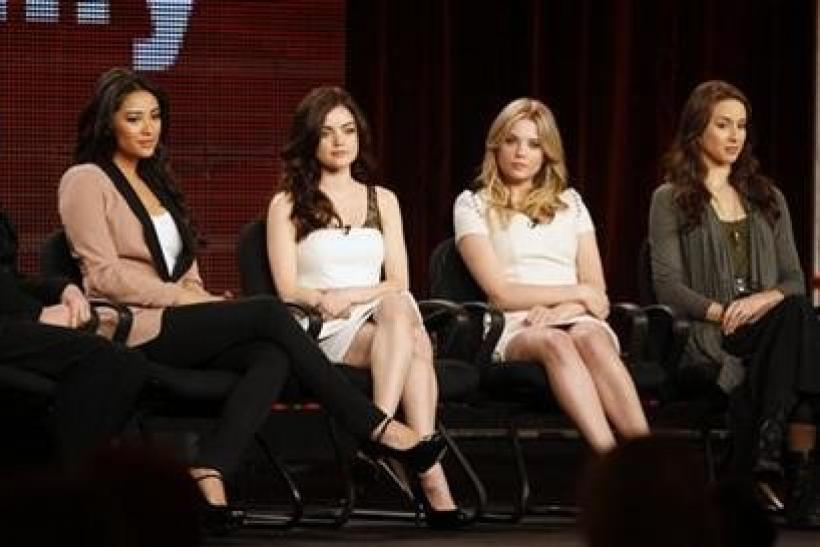 The executive producer and stars of the ABC Family series ''Pretty Little Liars'' (L-R) executive producer I. Marlene King, actresses Shay Mitchell, Lucy Hale, Ashley Benson, and Troian Bellisario take part in a panel discussion at the