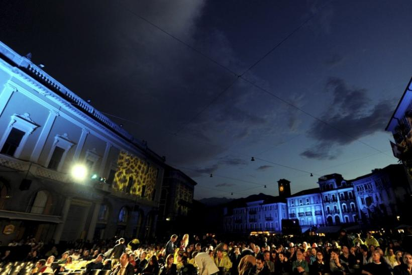 People crowd the Piazza Grande on the opening evening of the 64th Locarno Film Festival