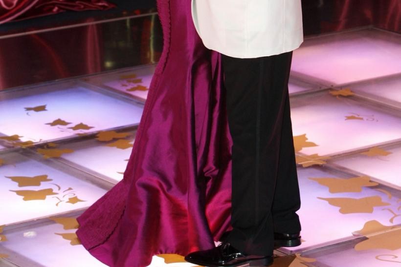 Prince Albert II of Monaco and his wife Princess Charlene dance during the Red Cross Ball in Monte Carlo