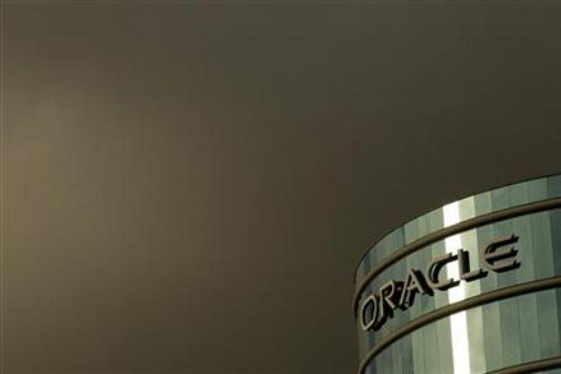 Company logo shown at headquarters for Oracle Corp shown in Redwood City