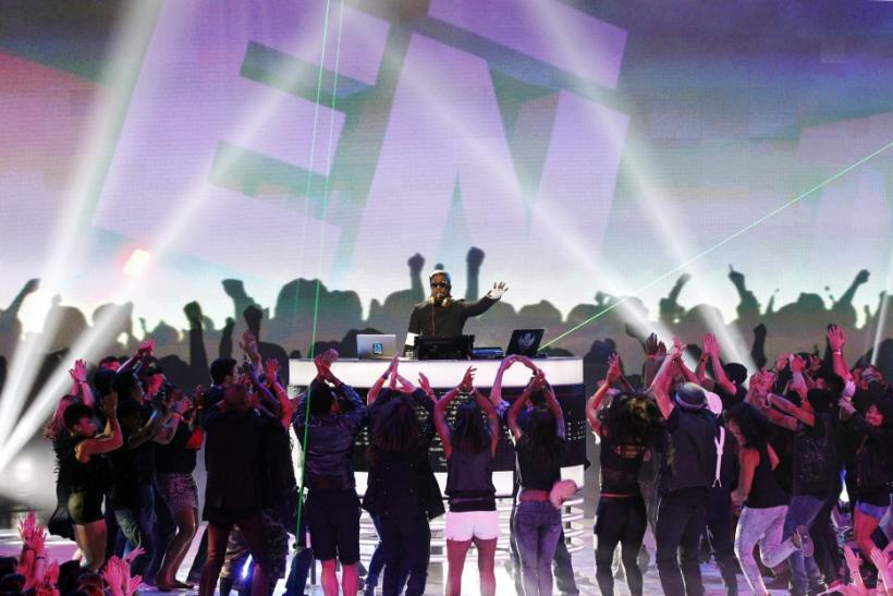 Singer will.i.am performs at the Teen Choice Awards at the Gibson amphitheater in Universal City, California