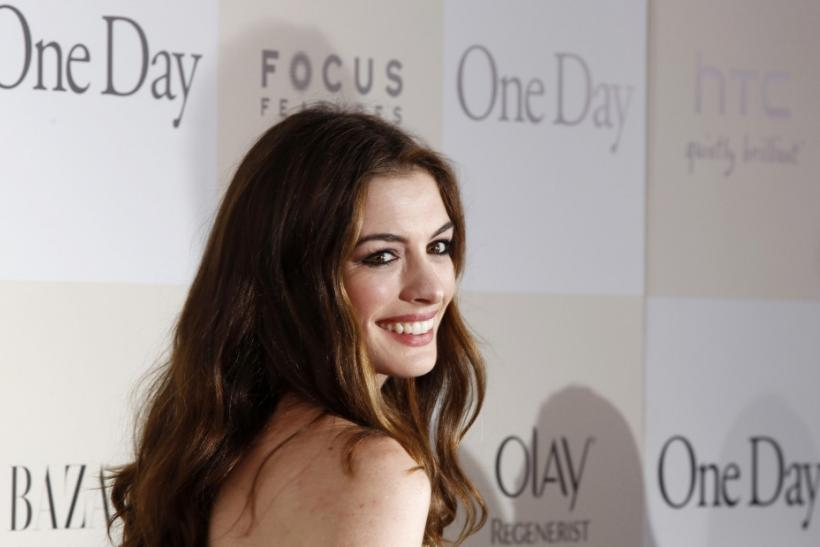 "Cast member Anne Hathaway arrives for the premiere of the film ""One Day"" in New York"