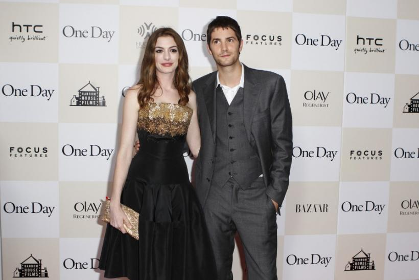 "Cast members Anne Hathaway and Jim Sturgess arrive for the premiere of the film ""One Day"" in New York"