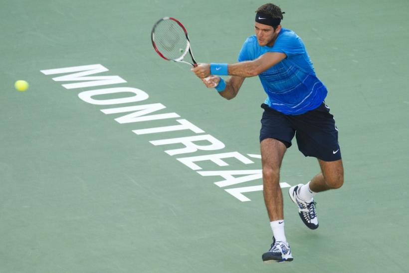 Argentina's del Potro hits return to Finland's Nieminen at the Rogers Cup tennis tournament in Montreal