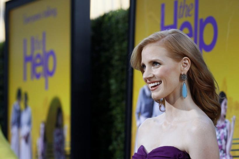 "Cast member Jessica Chastain poses at the premiere of the movie ""The Help"" at the Samuel Goldwyn Theatre in Beverly Hills, California"