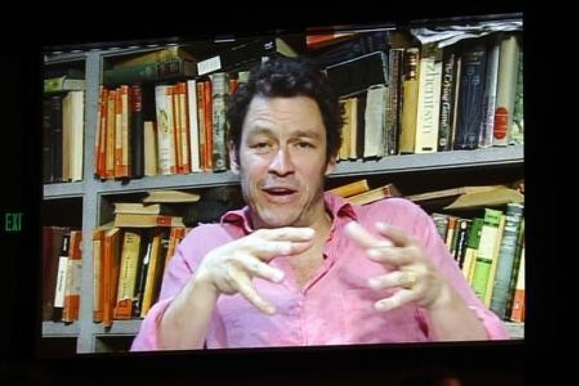 "Actor Dominic West, shown on a video screen via satellite from London, takes part in a panel discussion about the BBC America series ""The Hour"", in which he is acting, during the 2011 Summer Television Critics Association Cable Press Tour in Bev"