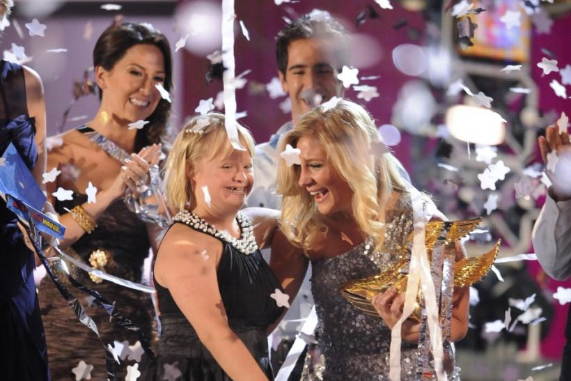 "Actress Lauren Potter (L) congratulates Sarah Cronk, the ""Do Something Winner"", at the end of the Do Something Awards in Los Angeles, California"