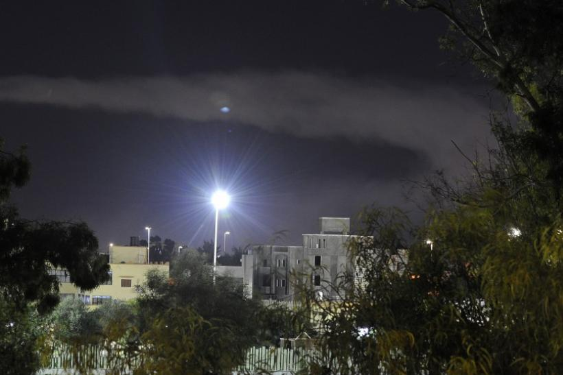Smoke rises in the sky after an explosion was heard in eastern Tripoli