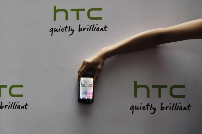 A new HTC Android-based smartphone Sensation is displayed during a news conference for the launch of the product in Taipei