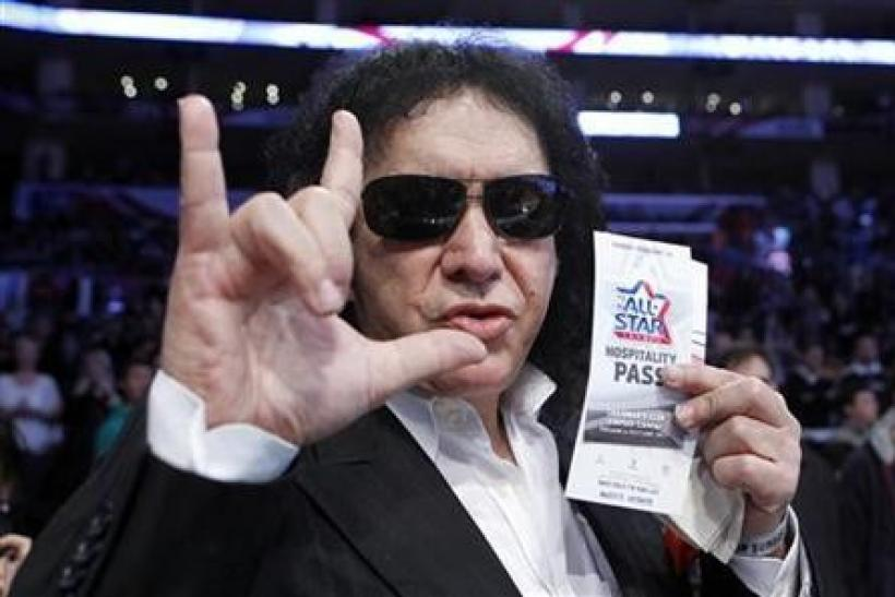 Gene Simmons of the rock band ''Kiss'' attends the NBA All-Star basketball game in Los Angeles