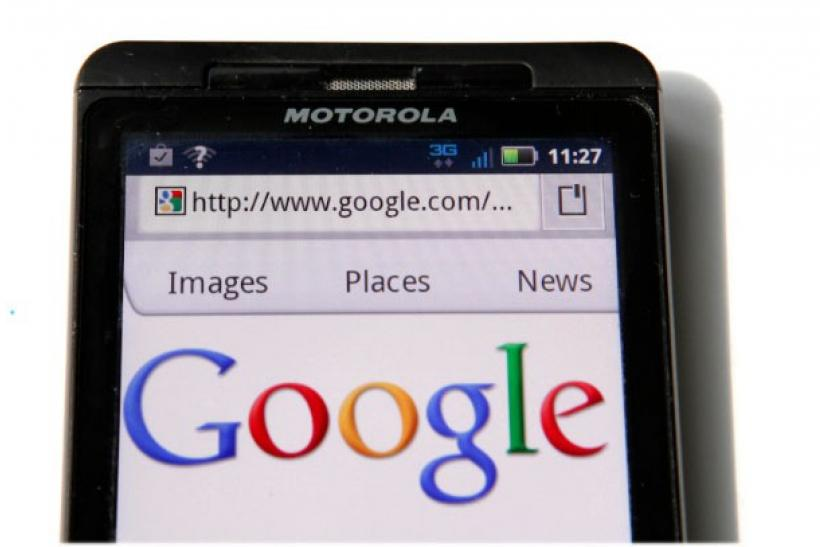 A Google homepage is displayed on a Motorola Droid phone in Washington August 15, 2011