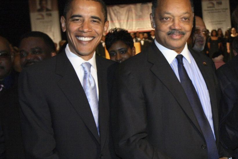 Obama poses with Rev Jackson Sr in Chicago
