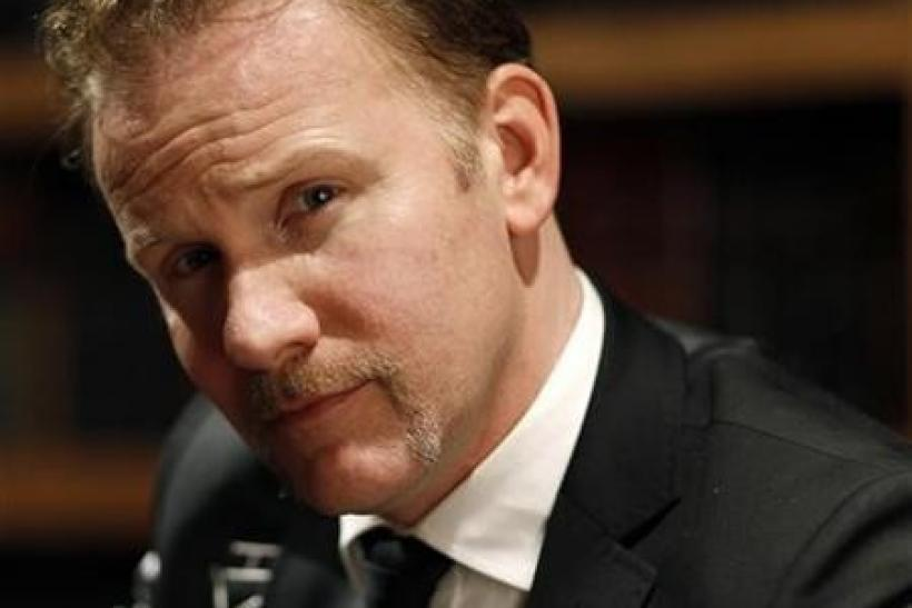 Director Morgan Spurlock poses for a portrait while promoting his documentary ''The Greatest Movie Ever Sold'' during the Sundance Film Festival in Park City, Utah