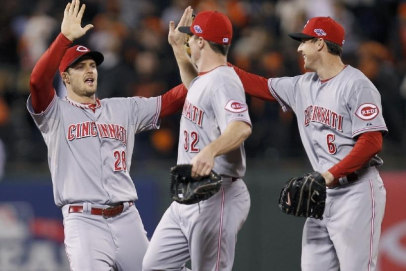 The Reds have outscored the Giants 14-2 in the first two games of the NLDS.