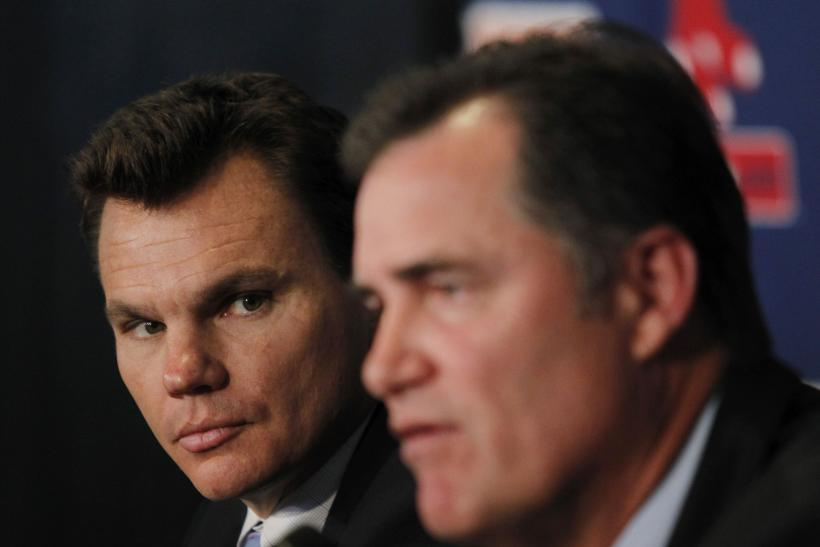 Boston general manager Ben Cherington (L) is looking to upgrade a Red Sox team that won 69 games in 2012.