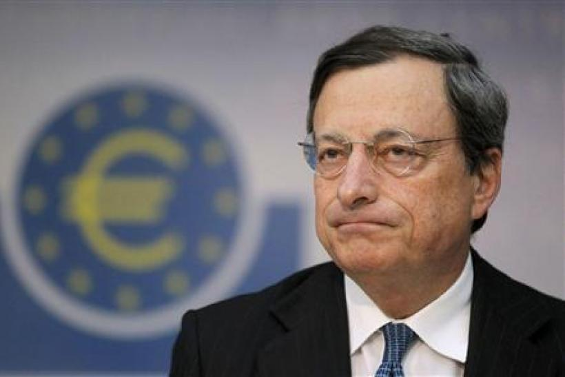 ECB Draghi with symbol 2012