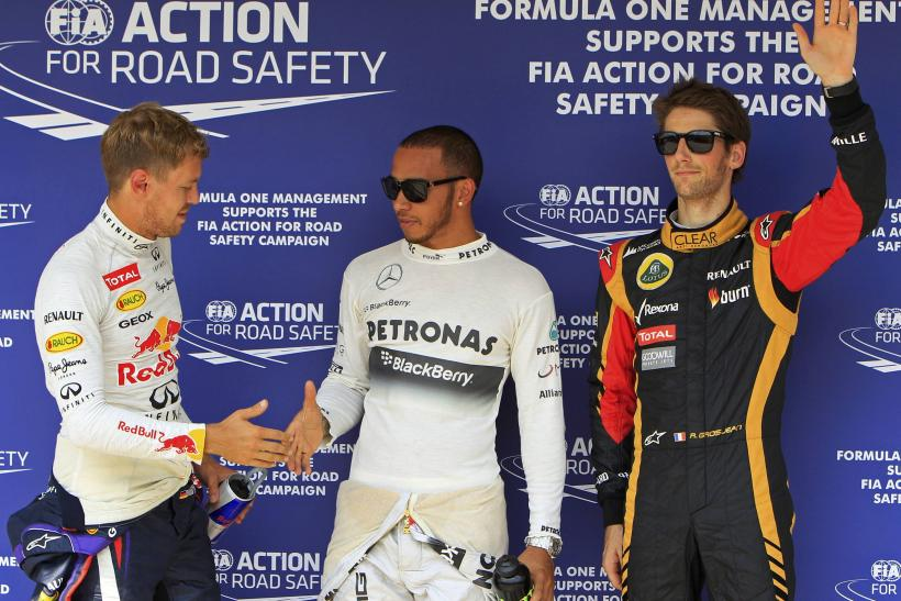Lewis Hamilton, Sebastian Vettel and Romain Grosjean