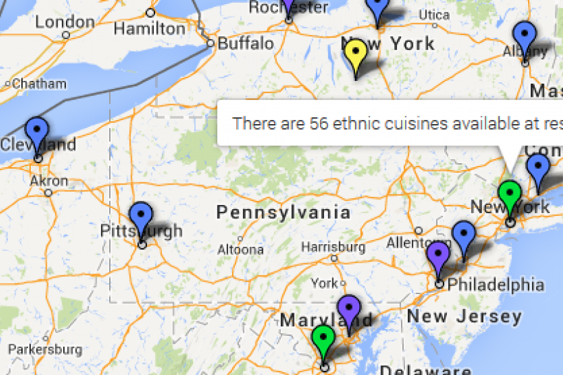 ethnic cuisines map