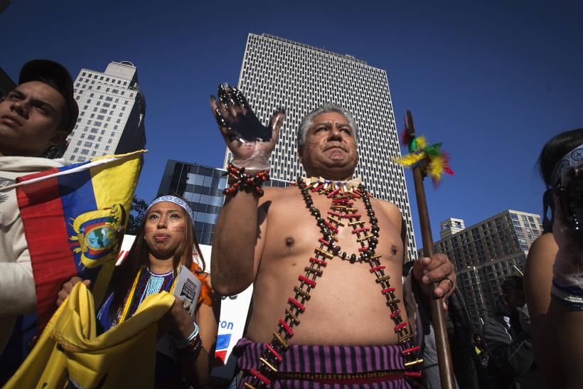 Ecuadorians protesting Chevron lawsuit