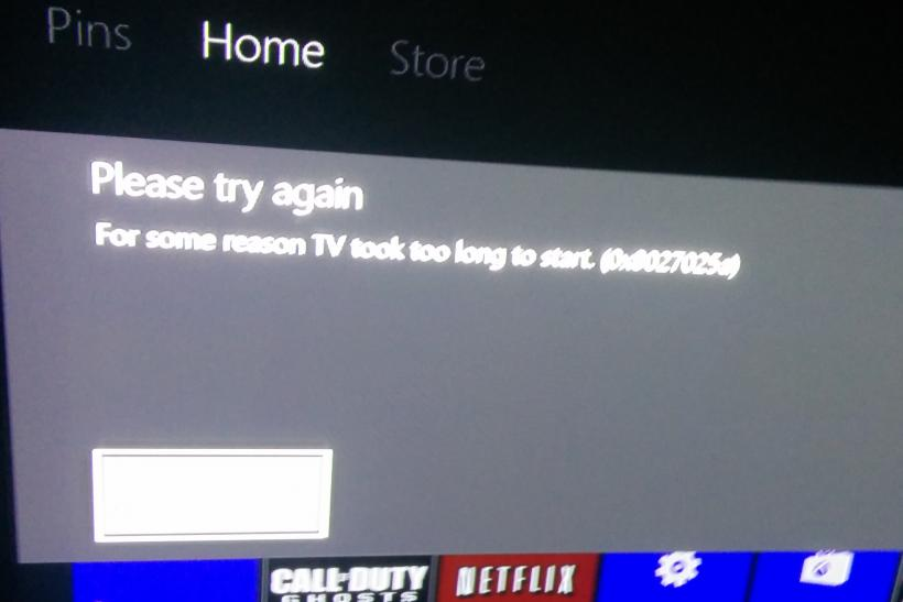 Please try again For some reason TV took too long to start 0x8027025a Xbox One error message