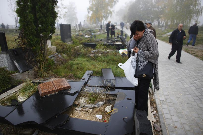 vandalized grave in Serbia