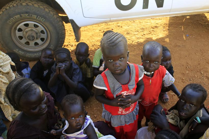 Displaced children in a South Sudan camp