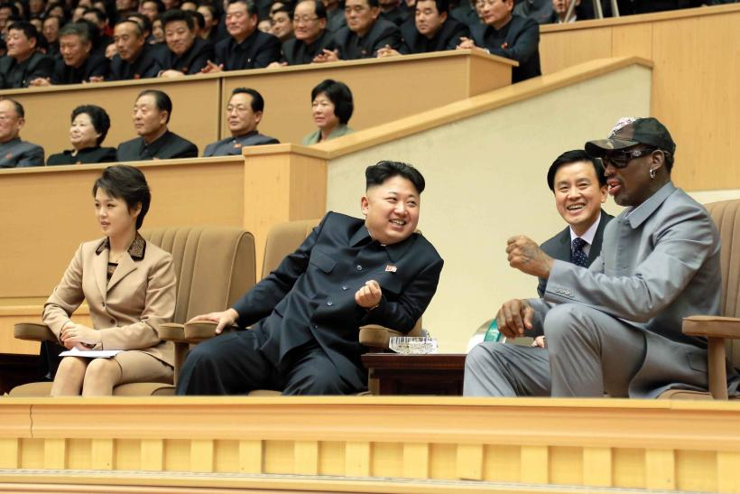 North Korean leader Kim with Dennis Rodman