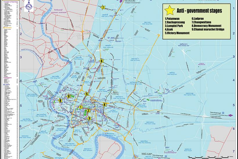 Bangkok Protest Map