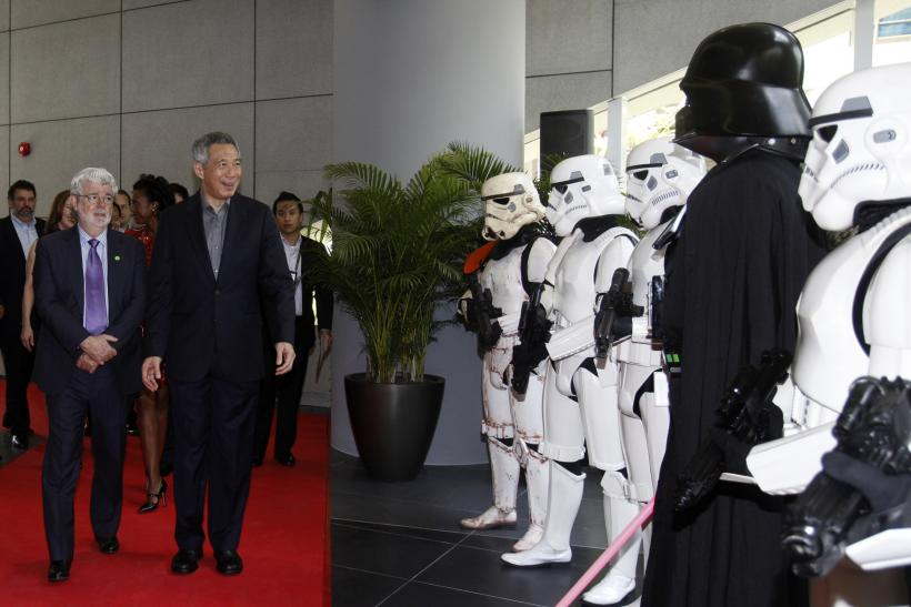 Filmmaker George Lucas welcomes Singapore's Prime Minister Lee Hsien Loong