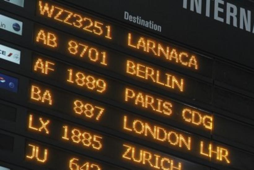 European flight destinations on a board at Otopeni international airport near Bucharest,