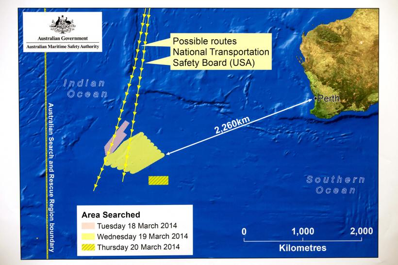 Flight MH370 diagram search australia
