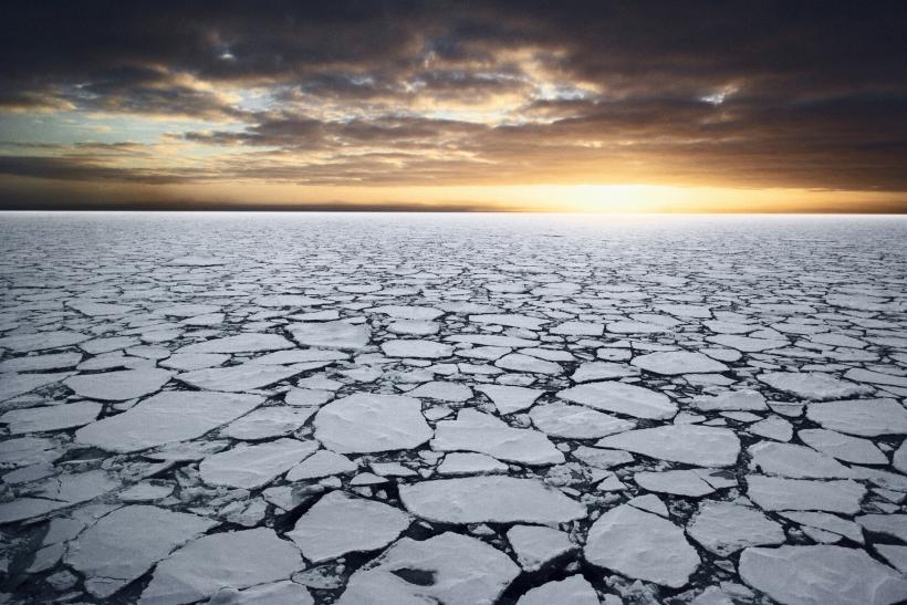 Jigsaw-like pieces of the Ross Sea drift around under the gaze of the sun