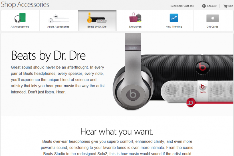 Apple Store Beats Electronics Page