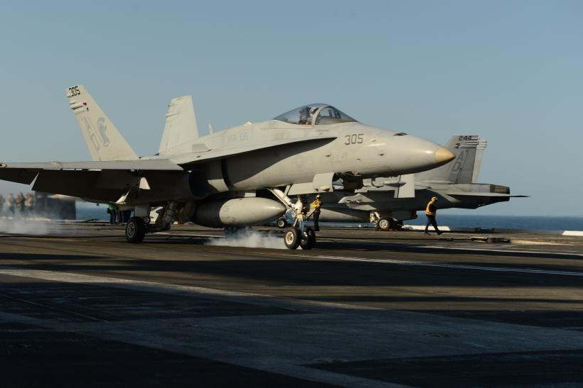 F/A-18 on an aircraft Carrier