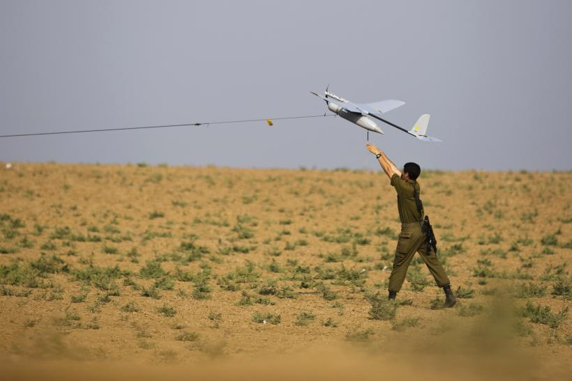 Israeli soldier flying drone