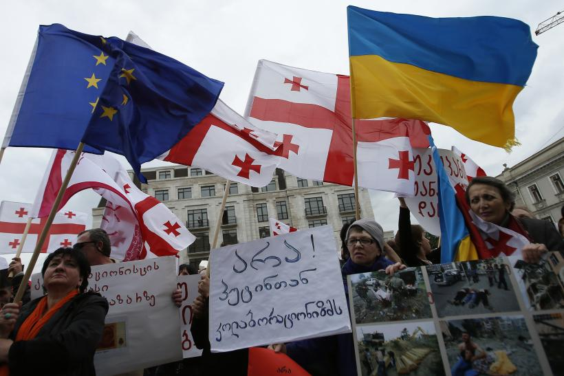 Ukrainian And Georgian Flags Fly During Protests In Tblisi