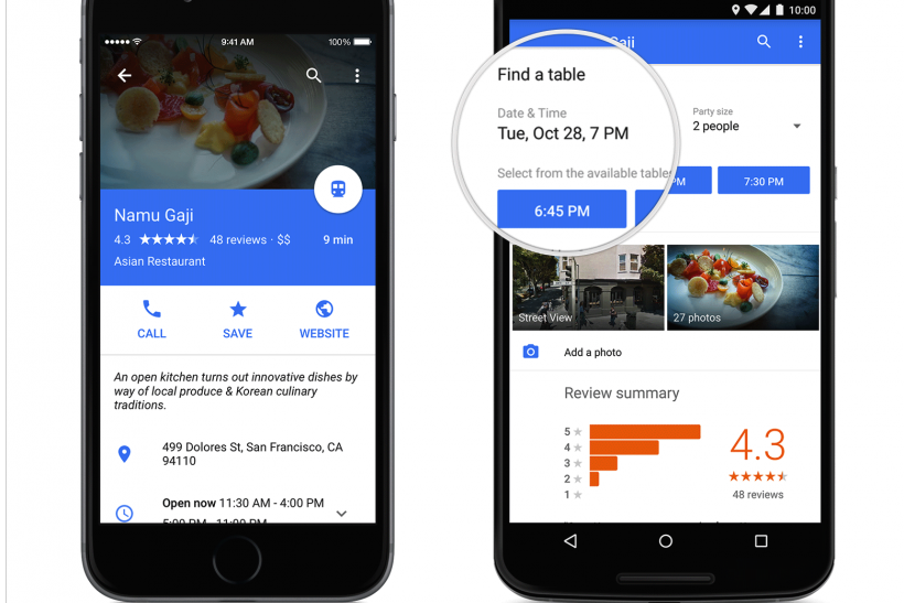 OpenTable Reservation Service Lands On Google Maps Menu - Open table menu